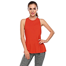 Women Sleeveless Back Hollow Tank Tops Sports Running Slim Exercise Tops ( Watermelon Red )