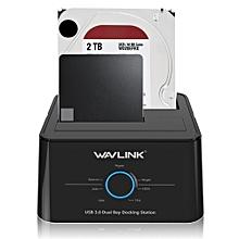 Wavlink US Plug USB 3.0 to SATA Dual-Bay 2.5 3.5Inch HDD SSD Enclosure Hard Drive Docking Station US 2 PLUG