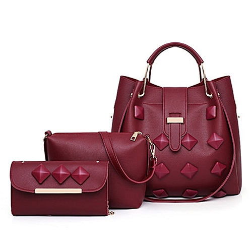 d5210f46398a Generic 3 In 1 PU Leather Women s Handbag Single-shoulder Bag for Working  Or Travlling (Red)