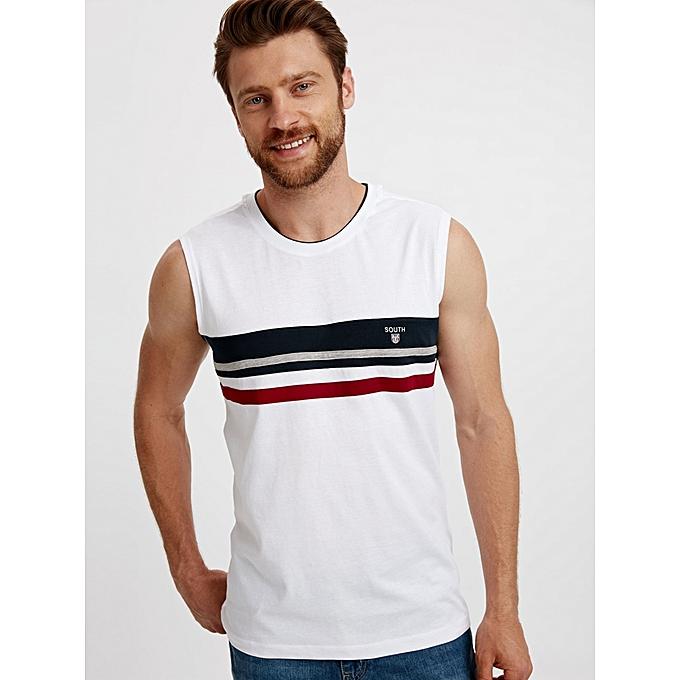 White Fashionable Standard Sleeveless Jersey Tank Top