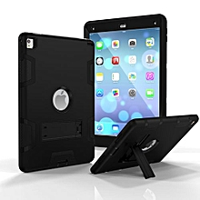 For Ipad 6 Case, Armor-Box Three Layer Heavy Duty Rugged Hybrid Protective With KickStand Case For IPad Air 2 (Black/Black)