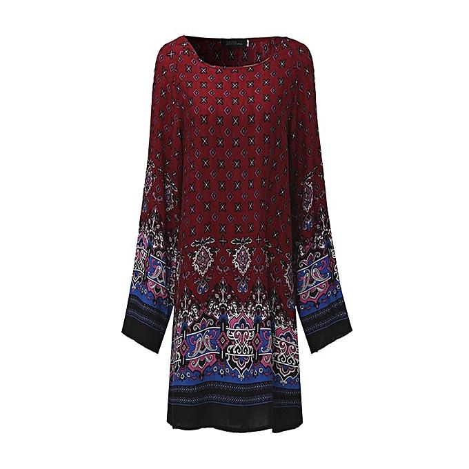 e3cff417c078 UK Stock Women Oversize Floral Vintage Hippie Loose Long Sleeve Mini Shirt  Dress