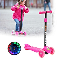 4 Wheel T-Bar Kick Push Scooter Adjustable Height Folding PU Flashing Light Gift
