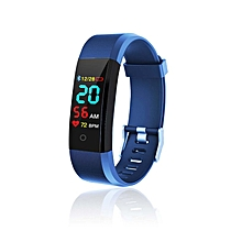 Smart Bracelet blood pressure and oxygen meter step color screen Bracelet dark blue