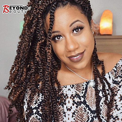 3 Pack Spring Twist Crochet Braids Bomb Twist Crochet Hair Ombre Colors  Synthetic Fluffy Hair Extension 8inch 110g(T1B,30)