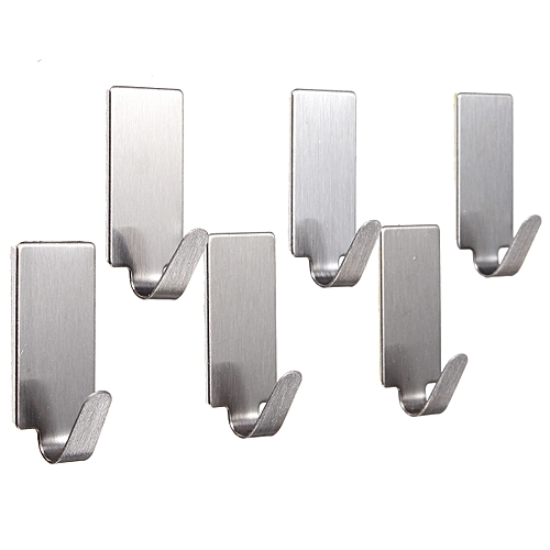6X Self Adhesive Home Kitchen Wall Door Stainless Steel Stick Holder Hook Hanger