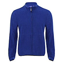Casual Solid Color Long Sleeve Coat - Blue