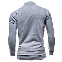 Men's Autumn Winter Leisure Sports Cardigan Zipper Sweatshirts Tops Jacket Coat - Gray