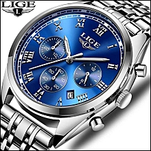 New LIGE Mens Watches Top Brand Luxury Business Quartz Watch Men Fashion Sports Stainless Steel Clock Relogio Masculino 9852