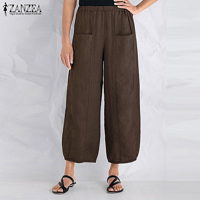 4d85df2c624 ZANZEA Women Cotton Long Harem Pants Casual Wide Legs Loose Oversize  Trousers