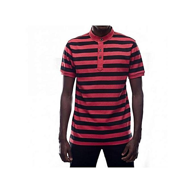 Black / Red Mens Striped Mandarin Collar T-shirts
