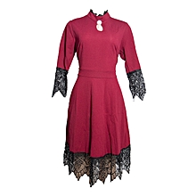 Maroon Detailed Laced Dress.,