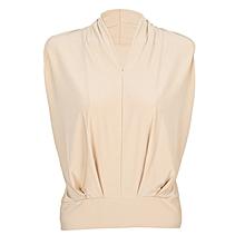 Women Beige Sleeveless Stretch Blouse