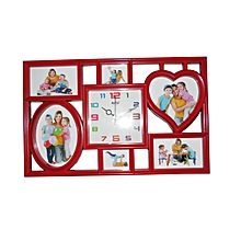 Picture Frame Wall Clock - Red