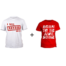Red Awesome T-shirt Design and White Never quit T-shirt Design