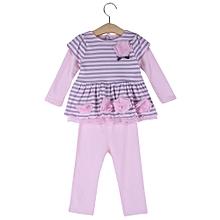 Girls 2Pcs Sweet Flower Striped Lace Ruffled Elastic Snap Fastener Clothing Set - Pink+Grey