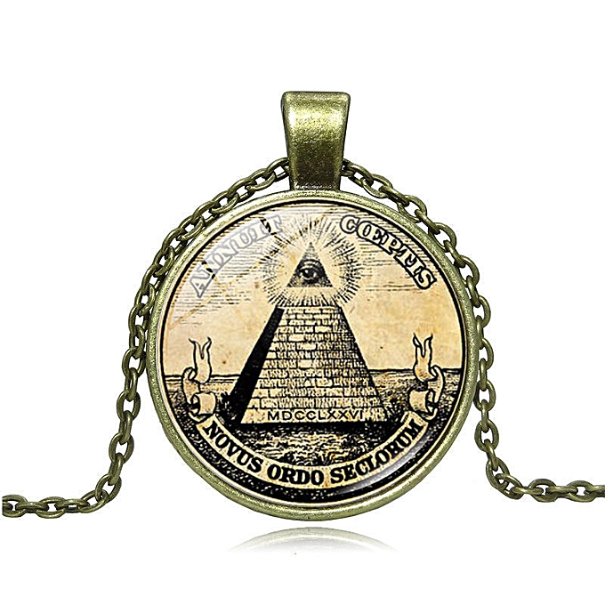 The illuminati time precious stone necklace of symbol masoni