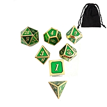 7pcs Zinc Alloy Enamel Embossed Heavy Metal Polyhedral Dice DnD RPG MTG SET w/ Bag