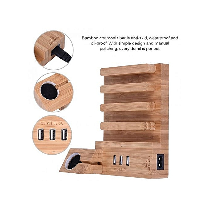 Buy Generic Bamboo Wood Charging Dock Station 3 Usb Charger Mount