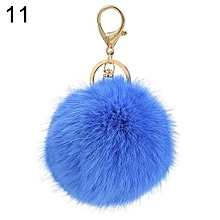 Hot Furry Ball Keychain Bag Key Hanging Tail Accessories Rabbit Fur Key Ring (Sky Blue)