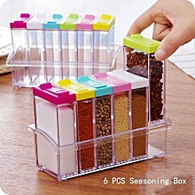 Six Rectangular Grid Condiment Box Transparent Plastic Storage Box For Kitchen Salt Pepper
