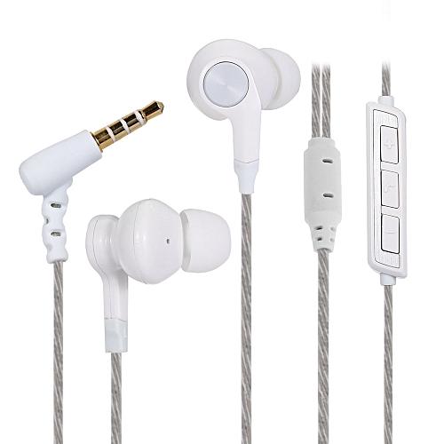 QT100 In-ear Stereo 3.5mm HiFi Sport Earphone with Mic Volume Control-WHITE
