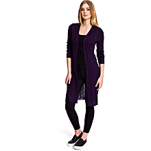 576d5b80c4 Purple Solid V neck Female Cardigan