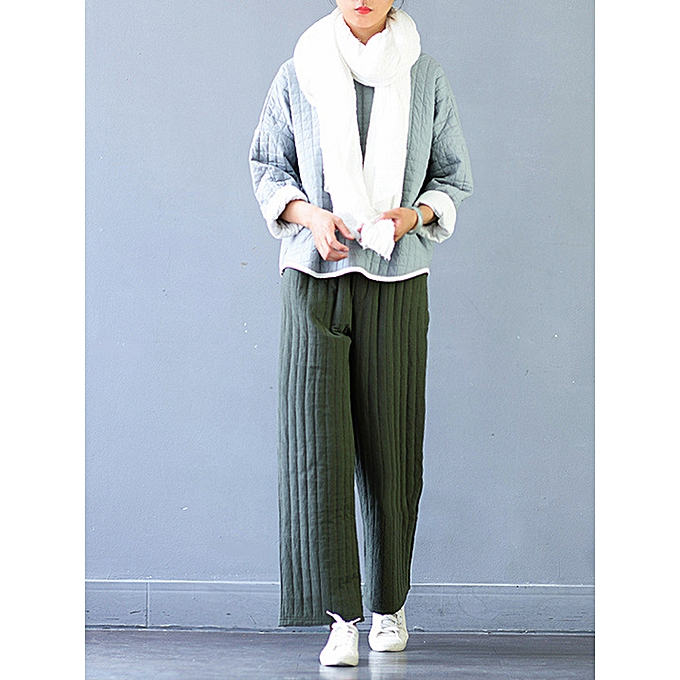 Fashion Casual Women Thicken Stripe Drawstring Waist Wide Leg Pants ... 379a4a8d4c4