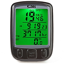 SD - 563B Leisure Bicycle Computer Water Resistant Cycling Odometer Speedometer With Green Backlight - Black