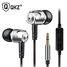 QKZ DM4 Earphones Dynamic With Mic Microphone Hybrid Unit HIFI Earphone Earbud Headset Dj MP3 DM4 PRI-P