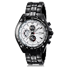 White Dial Chronometer Watch With Stainless Steel Straps - Grey-Black
