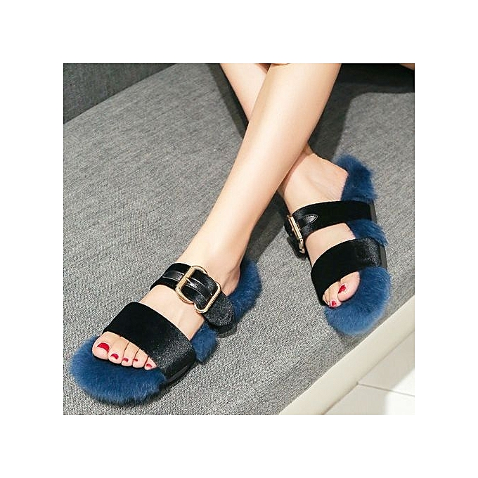 b9a4887972f7 ... bluerdream-Women Slippers Fashion Plush Slippers Women Faux Fur Flip  Flops Flat Shoes BU  ...