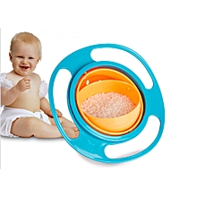 360-degree Rotating Gyro Bowl Baby Bowl Does Not Sprinkle The Saucer Bowl-Blue