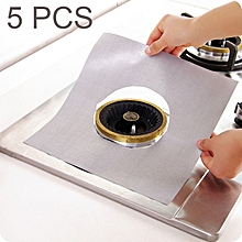 5 PCS Teflon Gas Furnace Surface Ultra-thin Fibre Material Stovetop Protective Cleaning Pad, Size: 27*27cm (Silver)