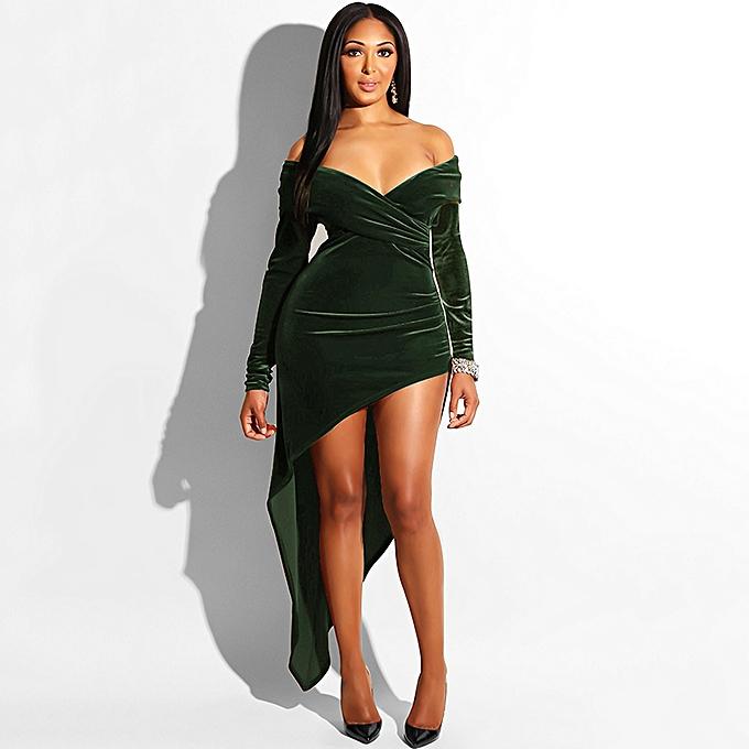 195c770b2bf Sexy Women Velvet Dress Off the Shoulder Crossover V Neck Irregular Hem Bodycon  Club Party Dress ...