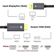 DisplayPort to HDMI Cable (6.6ft,Nylon Braided) DP to HDMI Cable Display Port to HDMI Cable for HDTV, Monitor, Projector, Desktop, AMD, NVIDIA, Lenovo, HP, ThinkPad - Slim Aluminum Shell,Grey