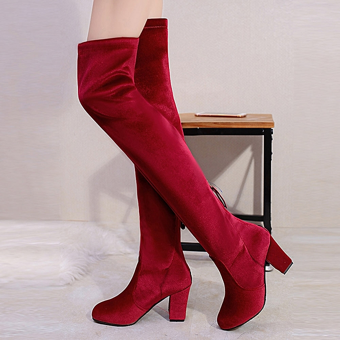 722bf5209cbf Winter Women Thigh High Boots Over The Knee Boot Stretch Flock High Heels  Shoes- Red