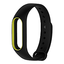 Replacement Silicon Bracelet Strap Band For Xiaomi miband 2 - Black and Yellow