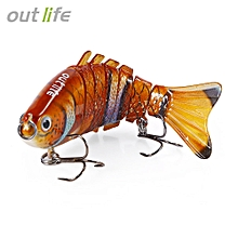 7-segement Multi-jointed Fishing Lure With Treble Hook Artificial Bait Tackle 10cm 20g - Multi