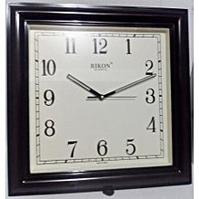 Wall clock - square shaped, dark brown plastic frame
