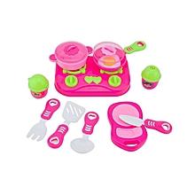 11Pcs Pink Kids House Kitchen Toy Pretend & Play Kitchen Playset