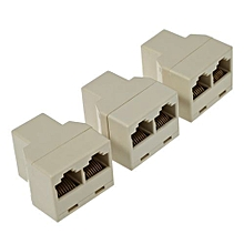 3pcs / Pack RJ45 CAT5 Ethernet Cable LAN Port 1 To 2 Socket Splitter Connector Adapter - Yellow