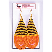 African Themed Orange Earrings (Round Edged)