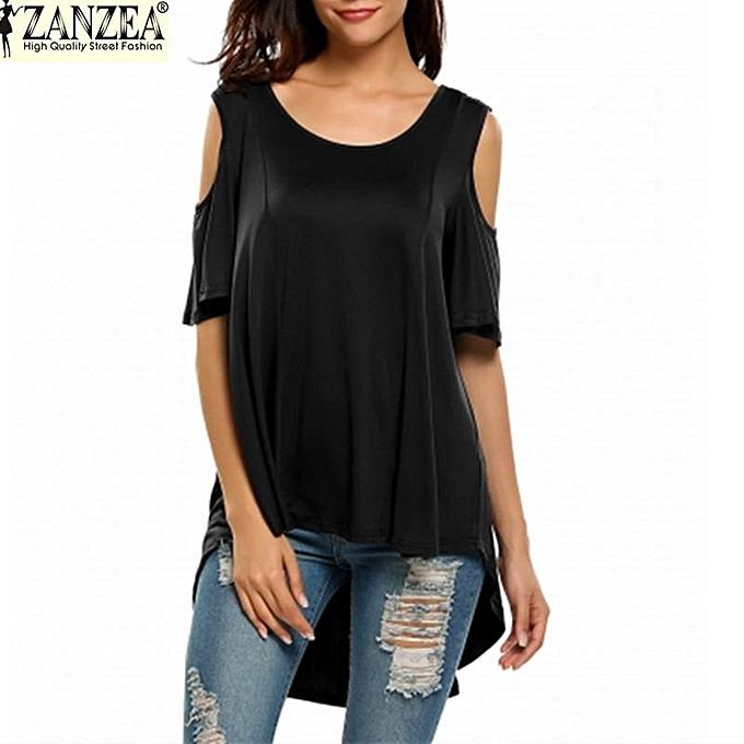 6e00f58cf98 ZANZEA Women's Short Sleeve Shirt Cut Out Irregular Hem Loose Tee Shirts  Cold Shoulder T- ...