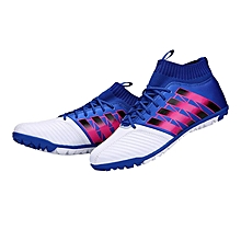 Football Shoes Broken Nail Anti-skid Soccer Boots Sports Training Sneakers White & blue