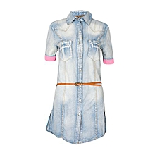 Blue Wash Denim Dress Top With Pink Sleeve Detail