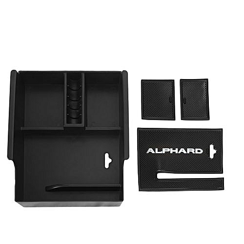 OR Non-Slip Car Central Armrest Container Suitable For Toyota Alphard  2015-2018 Black