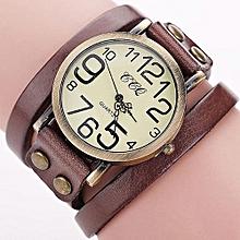Fohting CCQ Brand Vintage Cow Leather Bracelet Watch Men Women Wristwatch Quartz CO -Coffee