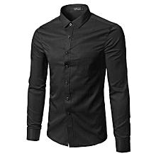Men Official Shirt - Slim Fit -  100% Cotton - Black