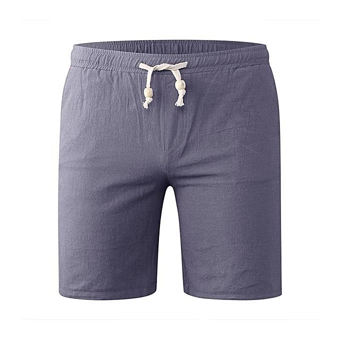 d3d492be8d Spring Summer Men's Casual Cotton Linen Board Shorts Big Size Solid Color  Beach Shorts